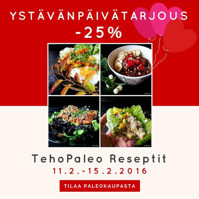 Ystävänpäivätarjous - TehoPaleo -reseptit -25%