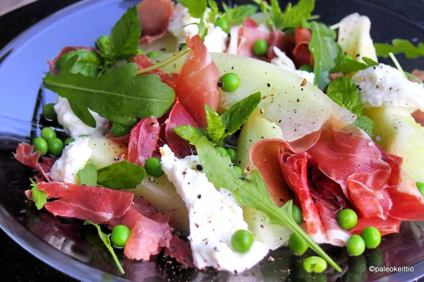 Prosciuttoa, melonia ja mozzarellaa lautasella | paleokeittio.fi
